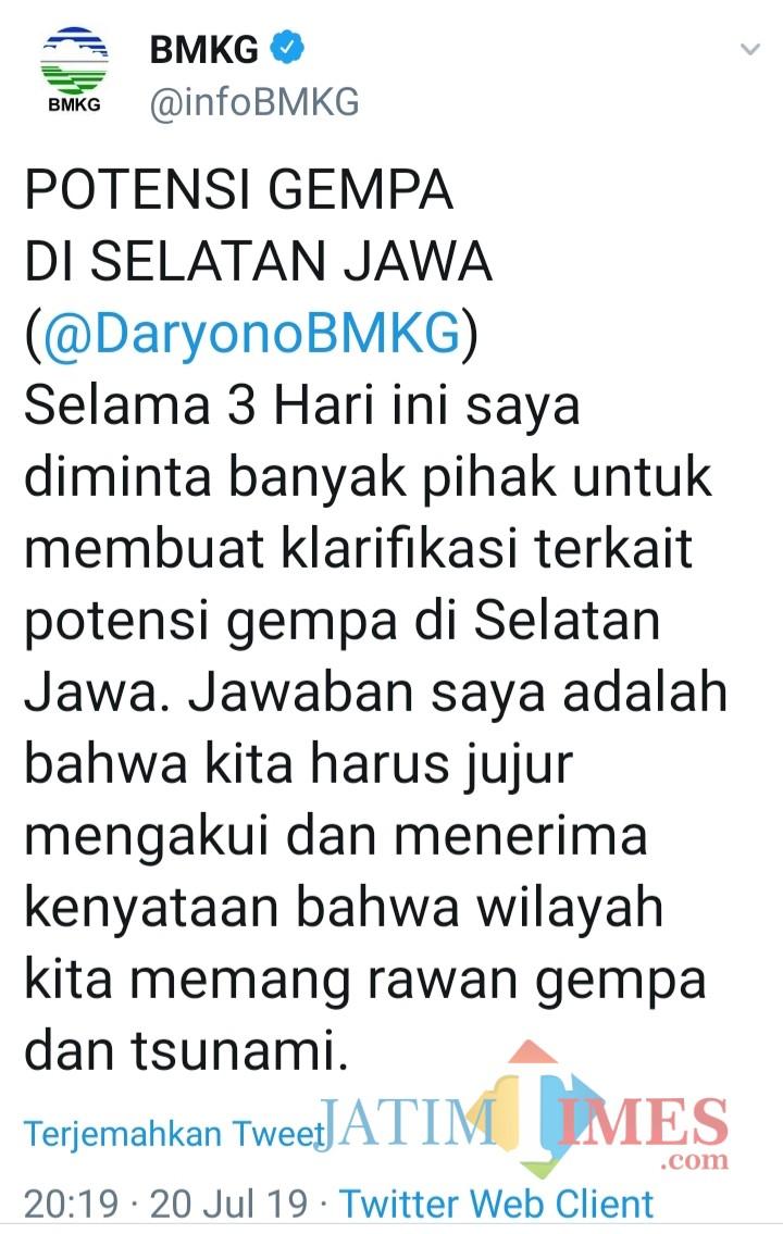Cuitan BMKG melalui akun resmi twitter-nya menanggapi viralnya potensi genpa 8,8 SR disertai tsunami 20 meter di  pantai laut selatan Jawa. (@infoBMKG).
