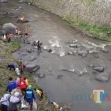 Pasukan Kuning DLH Kota Malang bersama tim relawan bahu-membahu membersihkan sungai Brantas (Arifina Cahyanti Firdausi/MalangTIMES)