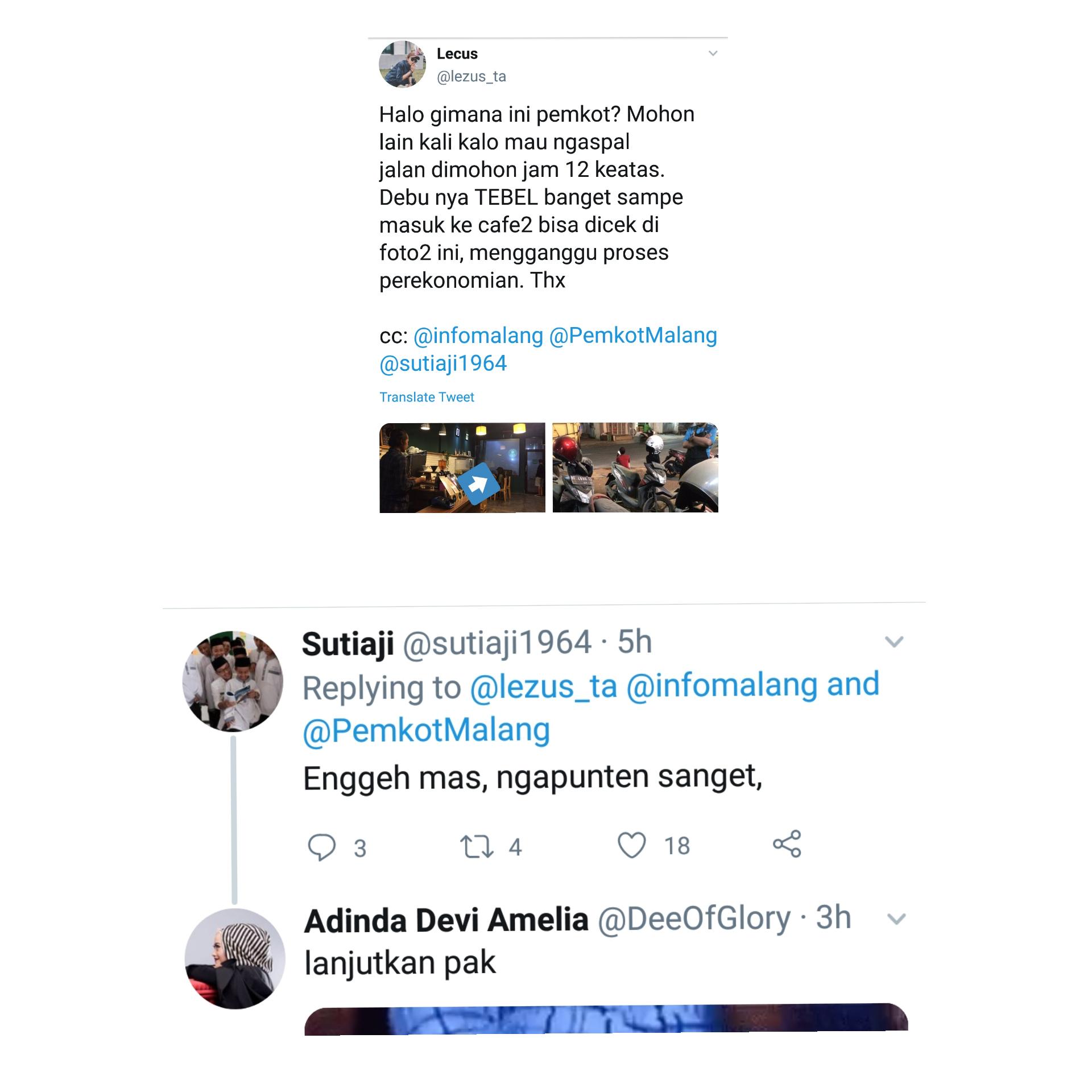 Ungkapan protes warganet kepada Wali Kota Malang Sutiaji. (Source : Twitter)
