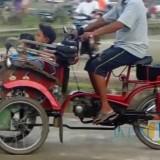 Becak dengan mesin motor (Foto : Media Sosial / Jatim TIMES)