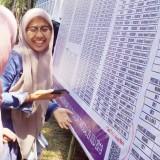 Dua calon mahasiswi baru jalur mandiri tulis melihat denah lokasi yang ada di baliho. (Foto: Humas)