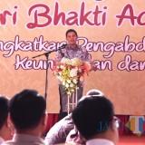 Walikota Kediri Abdullah Abu Bakar saat memberikan sambutan dalam tasyakuran Hari Bhakti Adhyaksa yang ke 59