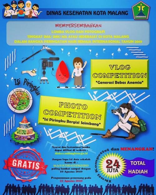 Poster lomba vlog dan fotografi Dinkes Kota Malang. (Foto: Dinkes Kota Malang)