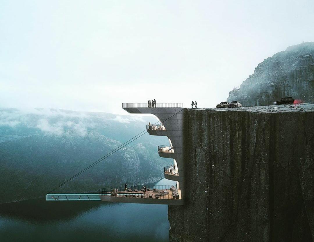 Konsep infinity pool tergantung di atas tebing. (Foto: Instagram hayri.atak.arch.design.studio)