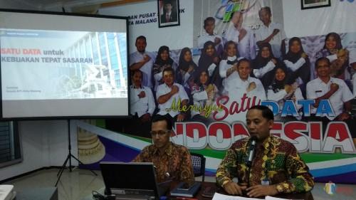 Kepala BPS Kota Malang Sunaryo (kanan) saat memaparkan kebijakan Satu Data Indonesia. (Foto: Nurlayla Ratri/MalangTIMES)