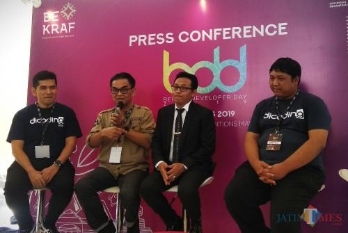 Temu media di sela kegiatan Bekraf Developer Day di Kota Malang. (Foto: Nurlayla Ratri/MalangTIMES)