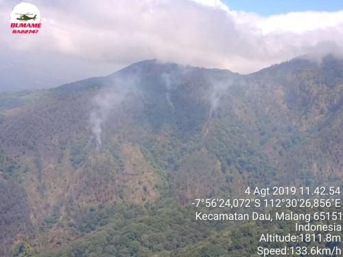 Kondisi kebakaran hutanLereng Panderman-Kawi. (Foto: istimewa)