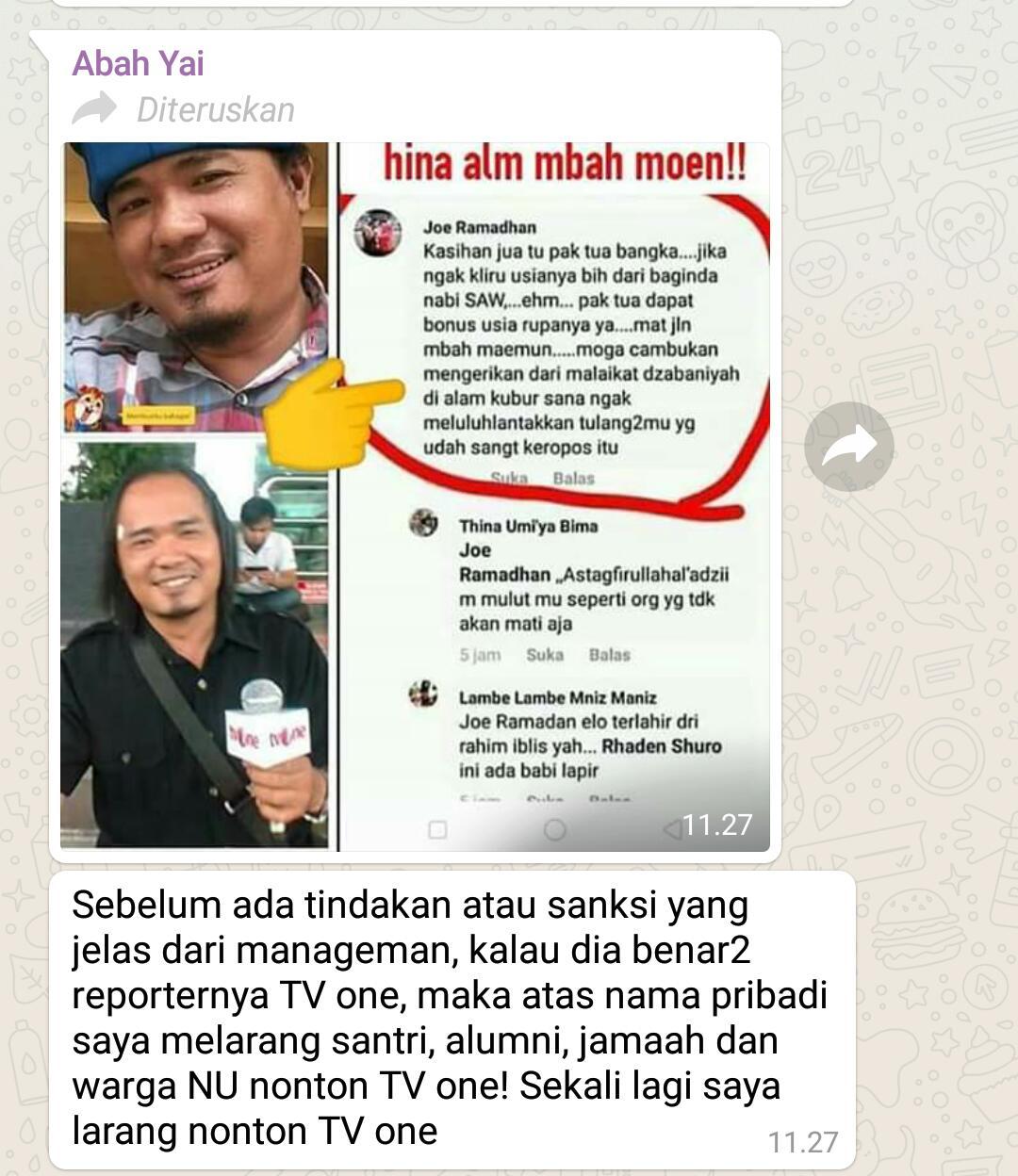 Screenshot postingan dan foto Joe yang menghina almarhum Mbah Moen di medsos FB.