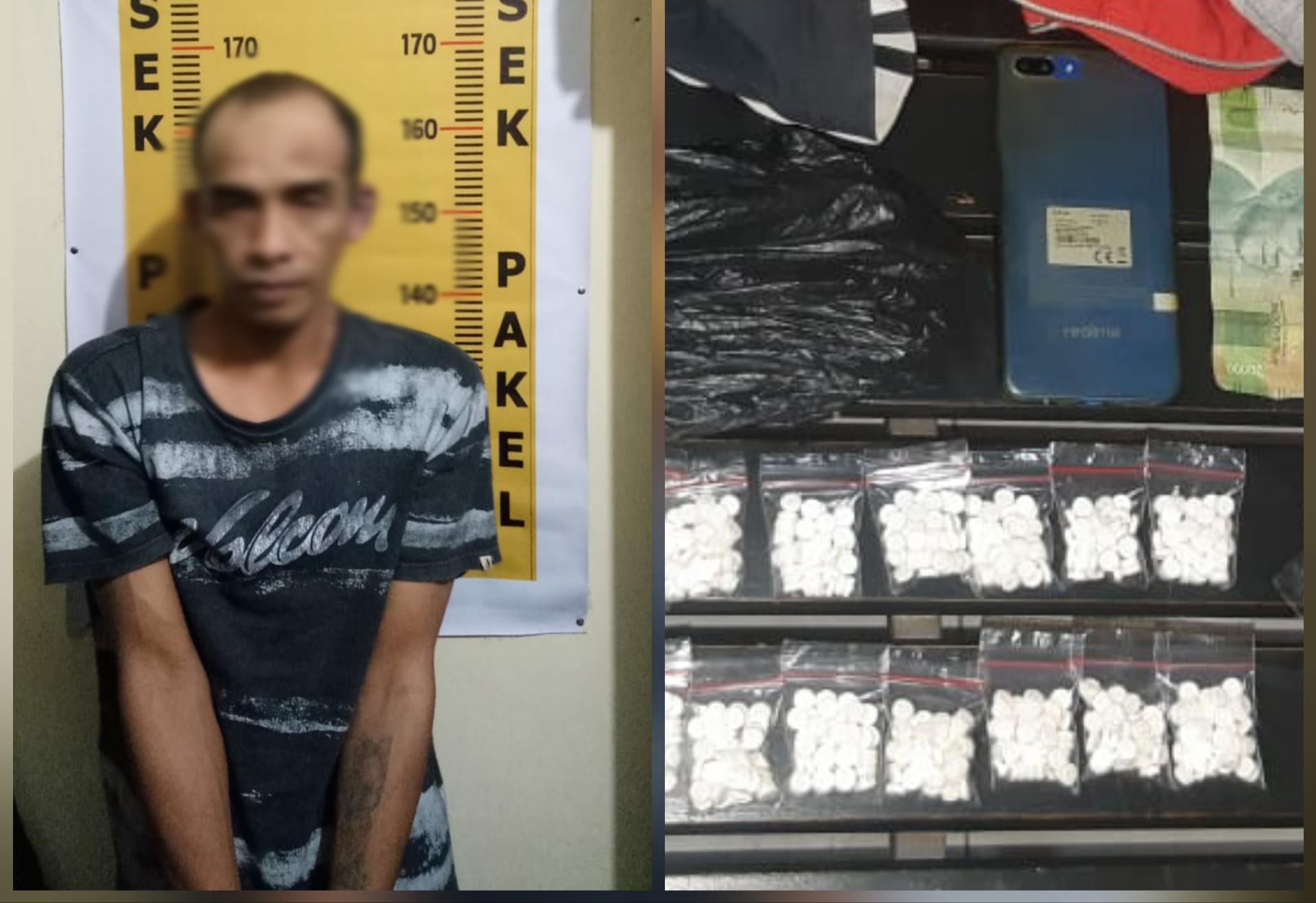 Tersangka Endik Susilo alias Kasus beserta barang bukti Dobel L (foto: Dokpol / TulungagungTIMES)