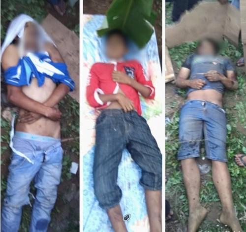 Kondisi korban tewas ditabrak KA Pandanwangi di TKP palang tanpa pintu Dusun Krajan, Kajarharjo, Kalibaru. Kondisi mobil pikap Carry yang dikendarai tiga korban tewas ringsek dan terbalik.