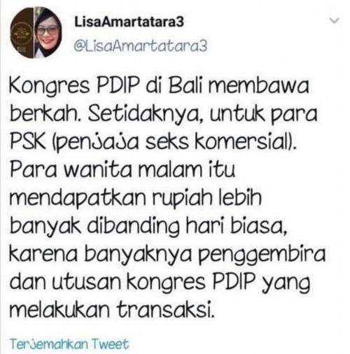 Postingan @LisaAmartatara3 yang membuat heboh masyarakat Bali dan kader PDI-Perjuangan