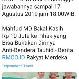 Cuitan Mahfud MD di twitter yang memuat sayembara berhadiah Rp 10 juta (@mahfudmd)Mahfydm