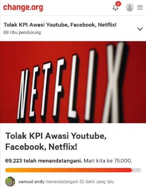 Screenshot laman change.org terkait tolak KPI awasi konten YouTube, Netflix dan Facebook. (laman change.org)