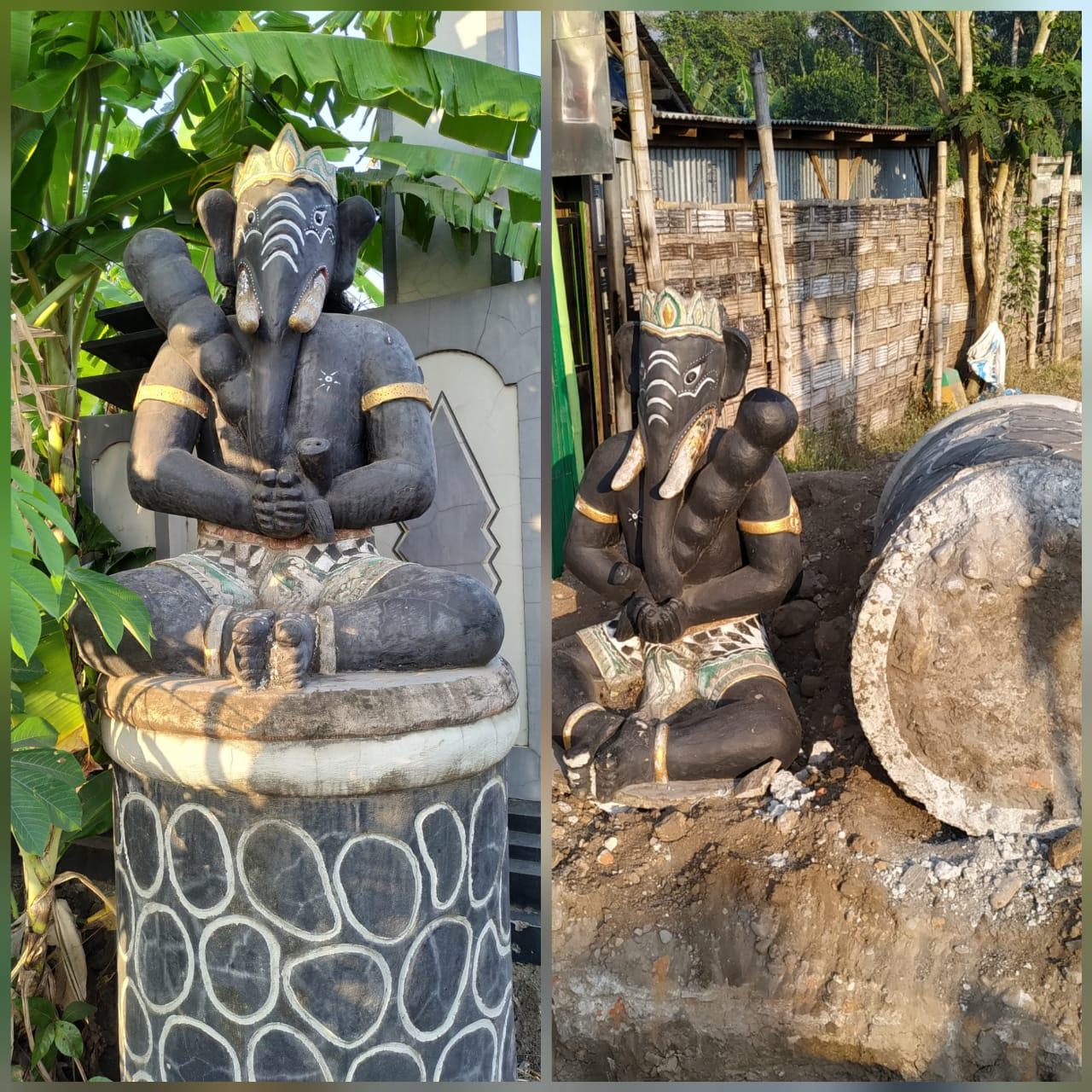 Mengejutkan..!! Genangan Air Dibuang, Patung Ganesha Di Desa Wates Turun Ke Tanah