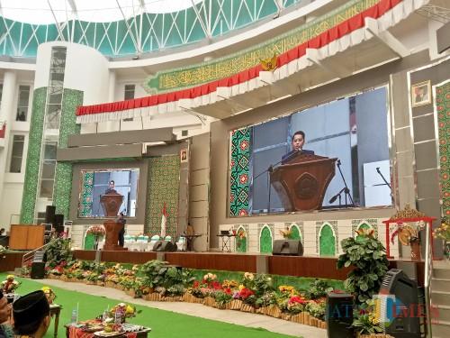 Dirjen Pendis Kemenag RI Prof Dr Phil H. Kamaruddin Amin MA saat membuka KSM Jawa Timur 2019. (Foto: Imarotul Izzah/MalangTIMES)