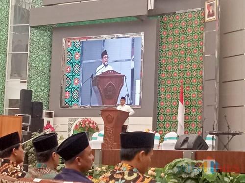 Wali Kota Malang, Sutiaji saat memberi sambutan dalam Pembukaan KSM Jatim 2019. (Foto: Imarotul Izzah/MalangTIMES)