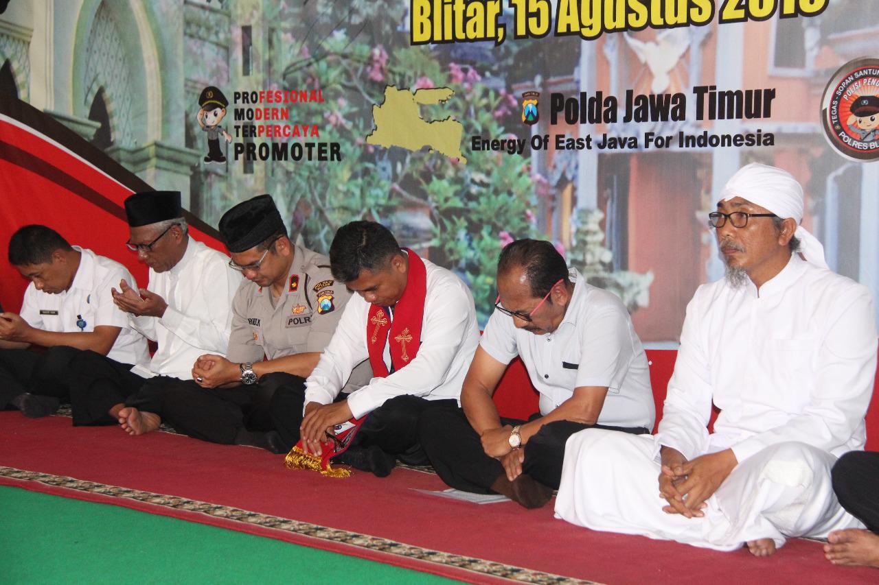 Doa kebangsaan digelar Polres Blitar sambut HUT RI ke 74.(Foto : Aunur Rofiq/BlitarTIMES)