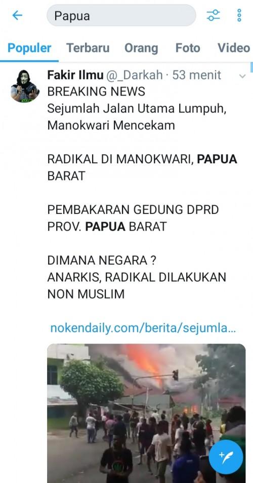 Cuitan warganet di Twitter terkait insiden Manokwari menjadi trending topic. (@twitter)
