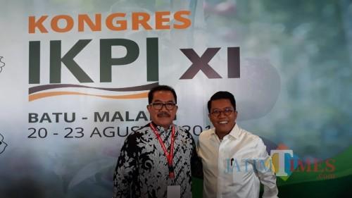 Anggota Komisi XI DPR-RI M. Misbakun (kanan) saat menghadiri Kongres XI IKPI di Kota Batu. (Foto: Dokumen MalangTIMES)