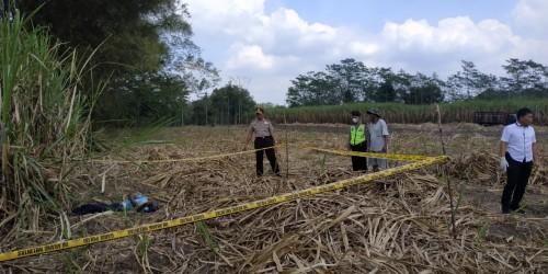 Petugas kepolisian saat melakukan olah TKP di lokasi penemuan mayat (Foto : Dokumen MalangTIMES)