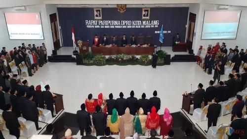 Suasana penetapan anggota DPRD Kota Malang periode 2019-2024 di Gedung DPRD Kota Malang, Sabtu (23/8/2019) (Pipit Anggraeni/MalangTIMES).