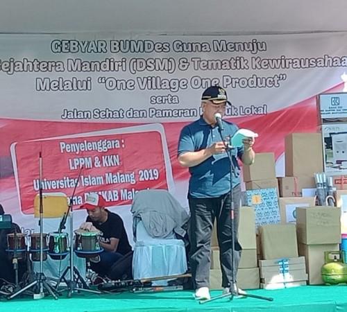 Target BUMDesa 150 unit di tahun 2019, Plt Bupati Malang Sanusi sampaikan saa ini masih 108 unit di acara gebyar BUMDesa Wajak (Nana)