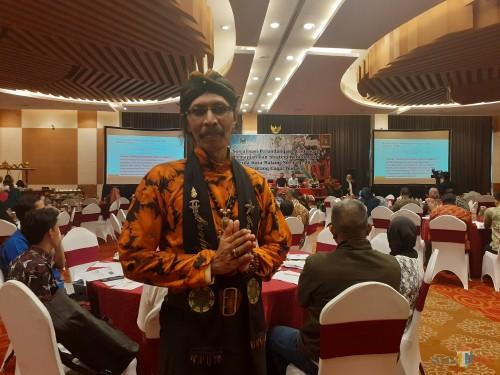 Pegiat Sanggar Sasmito Jati, Priyambodo saat hadir dalam Sosialisasi Perundang-undangan Pemajuan dan Strategi Kebudayaan Disbudpar Kota Malang (Arifina Cahyanti Firdausi/MalangTIMES)
