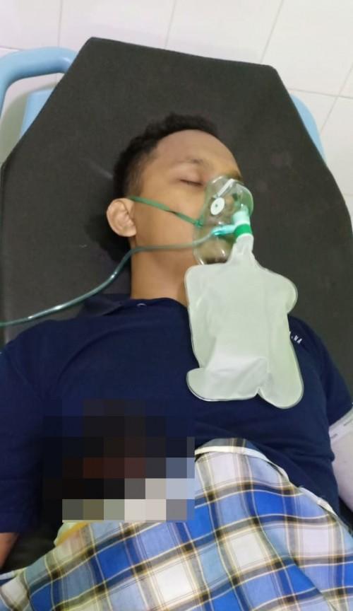 Kondisi korban yang mengalami luka parah saat menjalani perawatan intensif usai dianiaya dengan cara ditusuk pisau (Foto : Polsek Donomulyo for MalangTIMES)