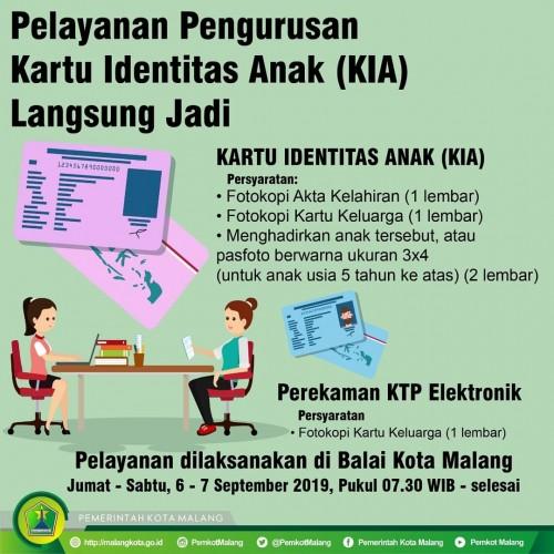 Pengumuman layanan pengurusan e-KTP dan KIA di Balai Kota Malang pada akhir pekan ini. (Istimewa).