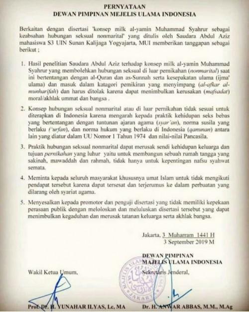 Surat pernyataan MUI. (Foto: istimewa)