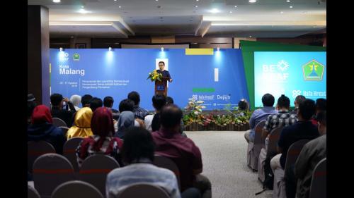Wali Kota Malang Sutiaji saat memberikan sambutan dalam peluncuran pedoman pengembangan SDM sub sektor Aplikasi dan Gim. (Foto: Bekraf for MalangTIMES)
