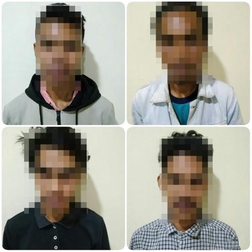 Keempat tersangka kasus penganiayaan dengan tindak kekerasan saat diamankan polisi. (Foto : Humas Polres Malang for MalangTIMES)