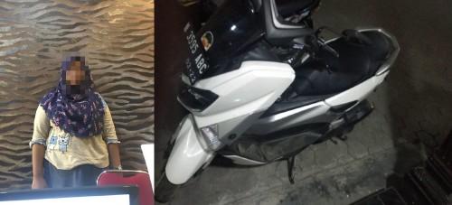 Tersangka beserta barang bukti sepeda motor hasil penggelapan saat diamankan polisi. (Foto : Polsek Pakis for MalangTIMES)