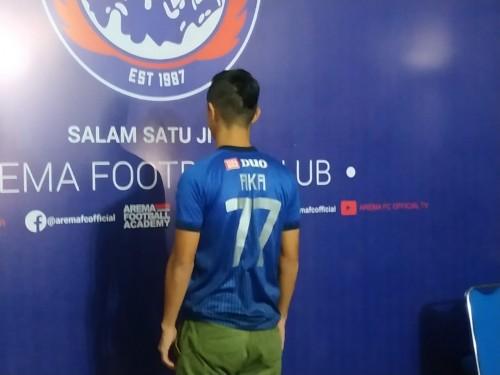 Takafumi Akahoshi saat dikenalkan sebagai pemain asing baru Arema FC (Hendra Saputra)