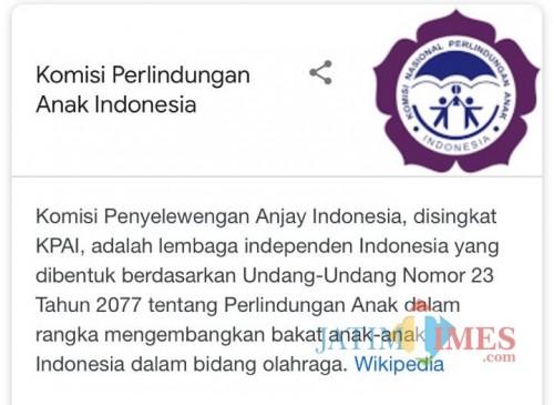 Tangkapan layar laman Wikipedia milik KPAI yang diedit keterangannya. (Foto: Dokumen MalangTIMES)