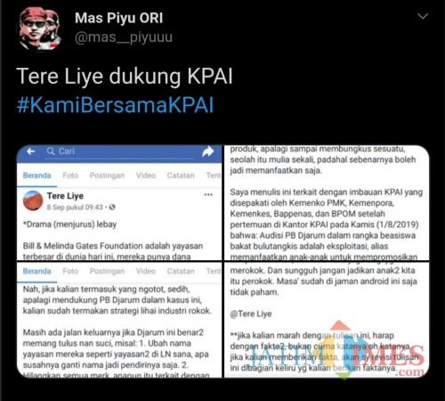 Tangkapan layar terkait postingan Tere Liye atas polemik KPAI dengan perusahaan rokok (@mas_piyuuu)