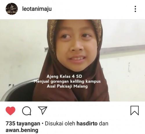 Postingan Dosen Fakultas Sastra, Leo Zainy, tentang perkuliahannya yang menghadirkan anak penjual gorengan. (Foto: istimewa)