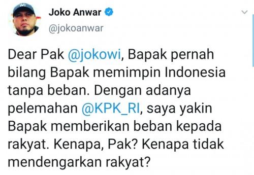 Cuitan Joko Anwar sentil Presiden RI Jokowi. (Source: twitter @jokoanwar)