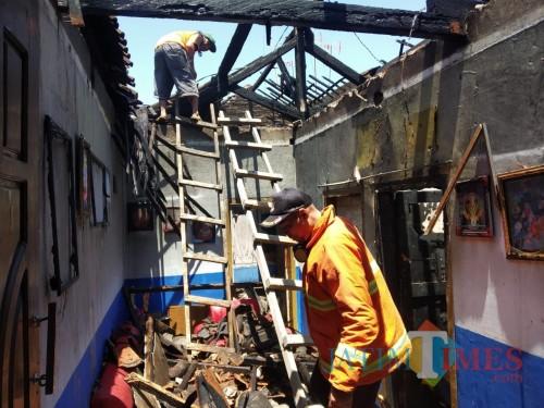Kondisi rumah setelah insiden kebakaran terjadi. (Foto : PPBK Kabupaten Malang for MalangTIMES)