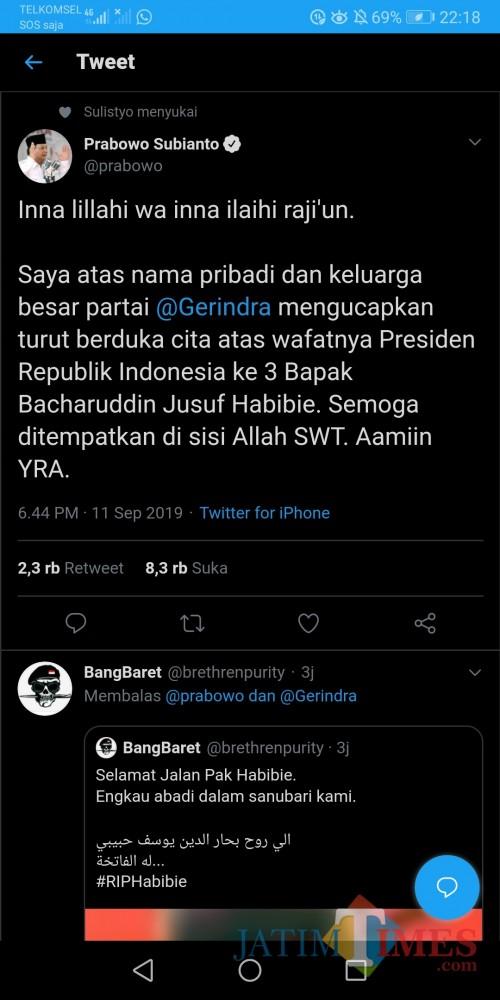Screenshot ucapan duka dari Prabowo Subianto atas wafatnya BJ Habibie yang ditarik oleh warganet untuk mengingatkan nasib Kivlan Zen (@prabowo)