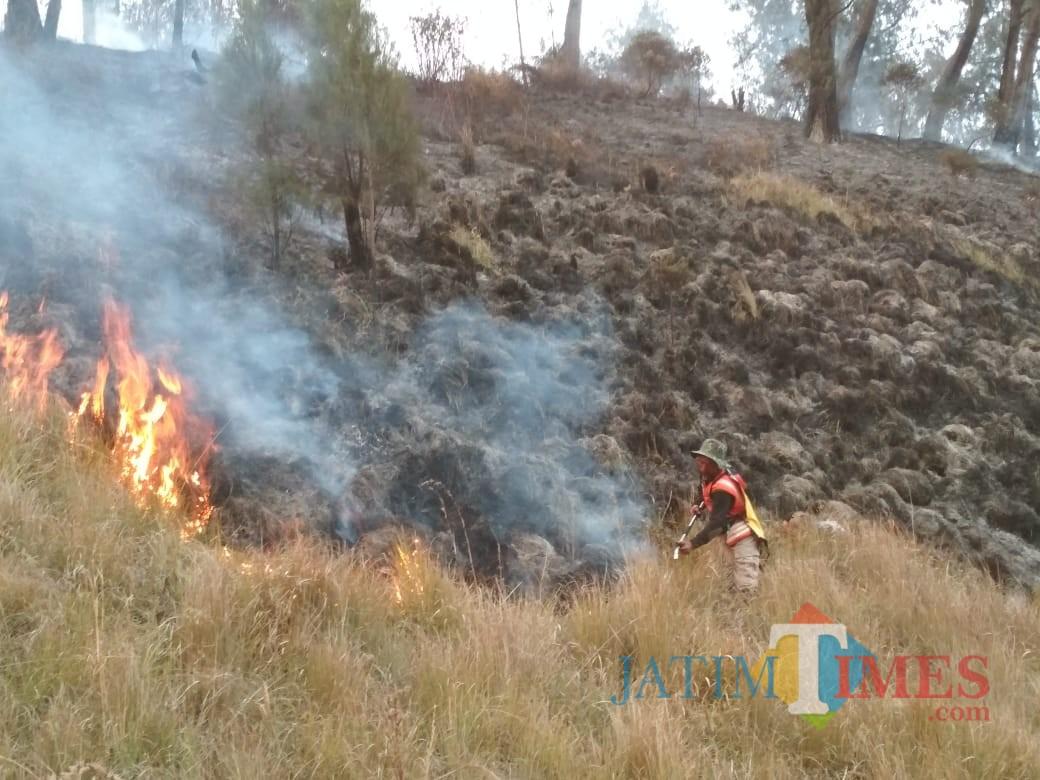 Petugas tengah melakukan pemadaman api karhutla di Gunung Semeru. (Foto: Dokumen BB TNBTS)
