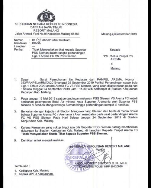 Surat resmi Polres Malang (istimewa)