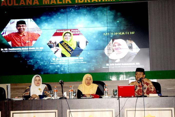 Kegiatan stadium general bertajuk Hukum Keluarga Islam dalam Perspektif Mubadalah Fakultas Syariah UIN Malang. (Foto: Humas)