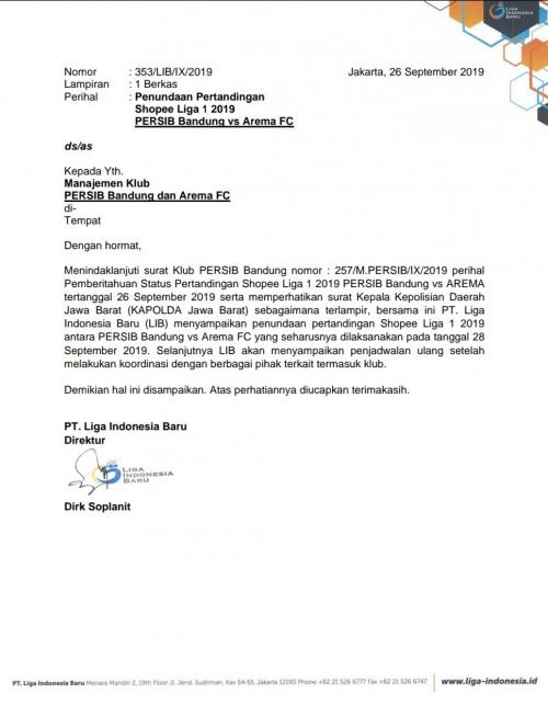 Surat penundaan pertandingan dari LIB antara tuan rumah Persib Bandung melawan Arema FC (istimewa)