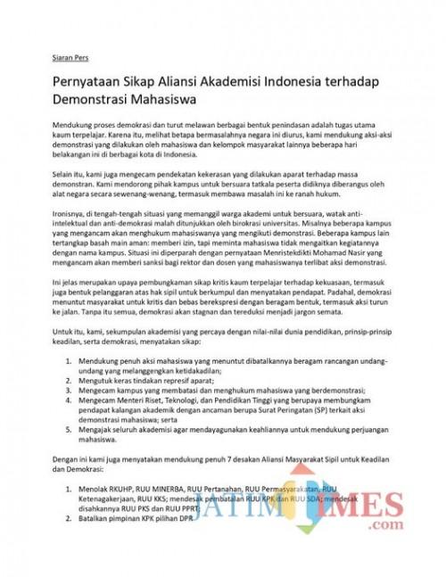 Beredar di medsos, ini pernyataan Aliansi Akademisi Indonesia terkait demonstrasi mahasiswa (Twitter)