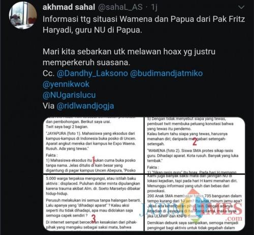Tangkapan layar @Sahal_AS terkait debunk Frizt Haryadi atas kerusuhan Papua. (@Sahal_AS)