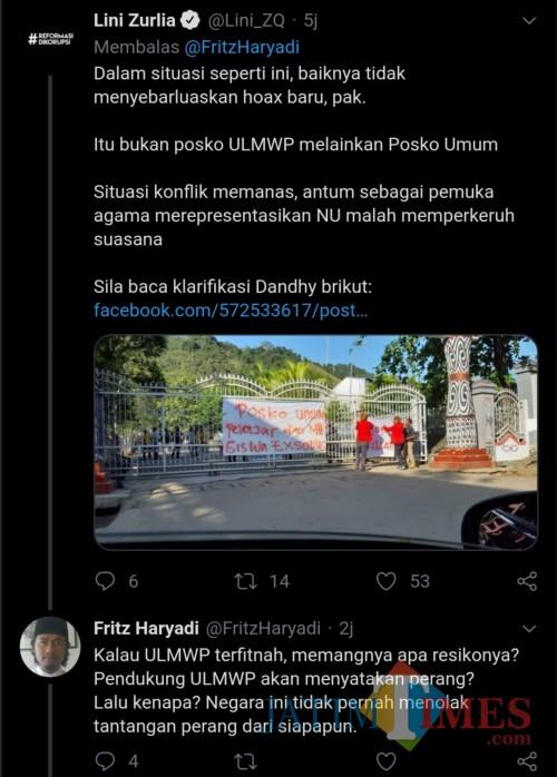 Tangkapan layar debat Fritz dengan wargabet terkait postingan debunk twit hoax aktivis Dendhy (@FritzHaryadi)