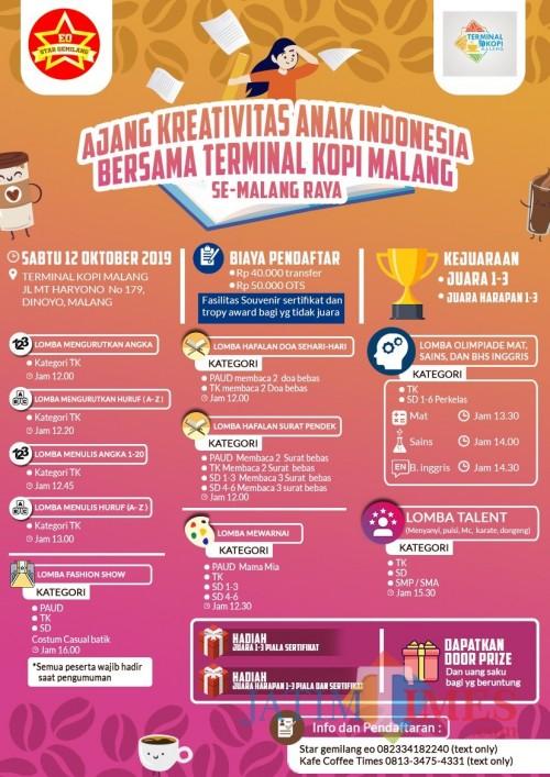 Jadwal Ajang Kreativitas Anak Indonesia Bersama Terminal Kopi Malang (Istimewa)