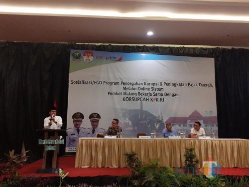 Suasana Sosialisasi/FGD Program Pencegahan Korupsi dan Peningkatan Pajak Daerah Melalui Online Sistem Pemerintah Kota Malang Bekerjasama dengan KORSUPGAH-KPK RI (Arifina Cahyanti Firdausi/MalangTIMES)