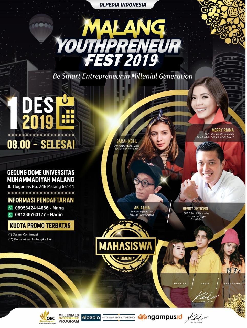 Flyer Malang Youthpreneur Fest 2019. (Foto: istimewa)